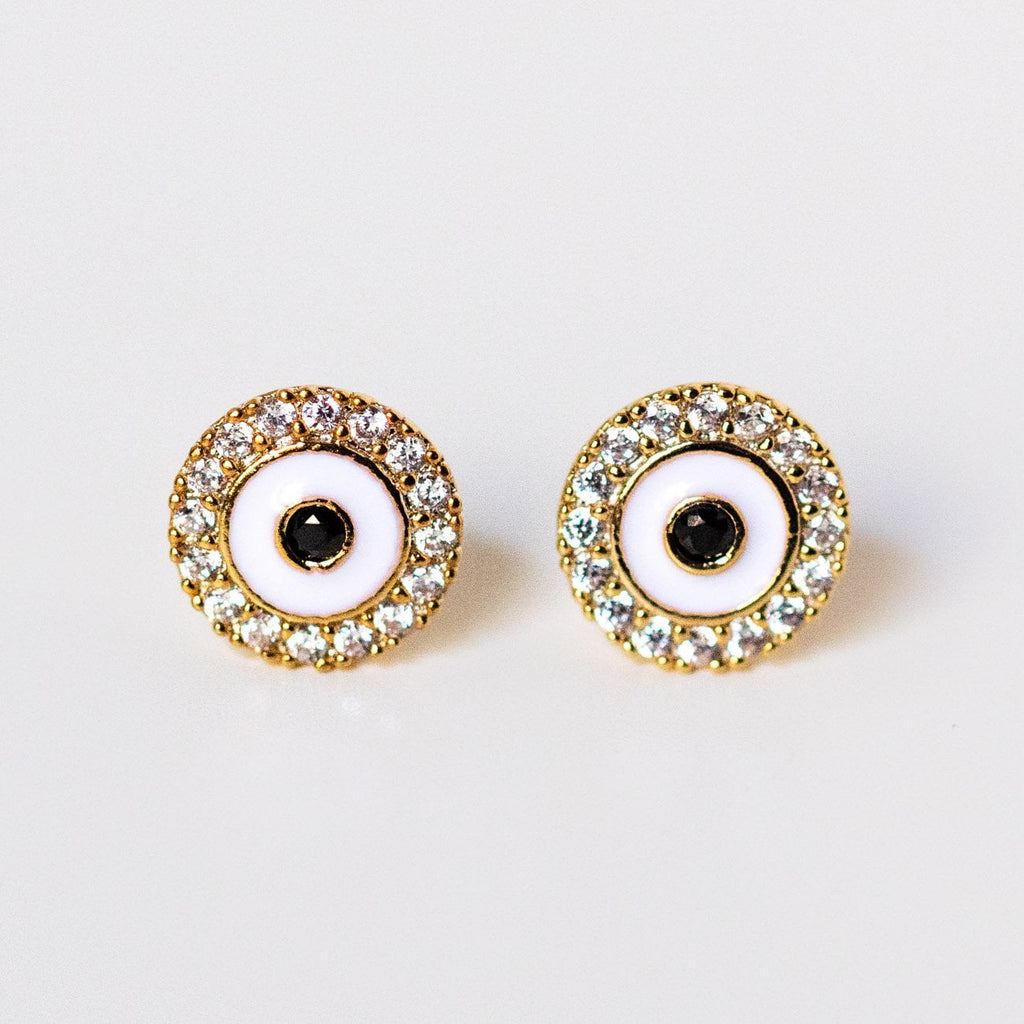 cz enamel pave circle evil eye stud earrings