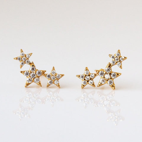 CZ Triple Star Post Earrings in Gold Vermeil