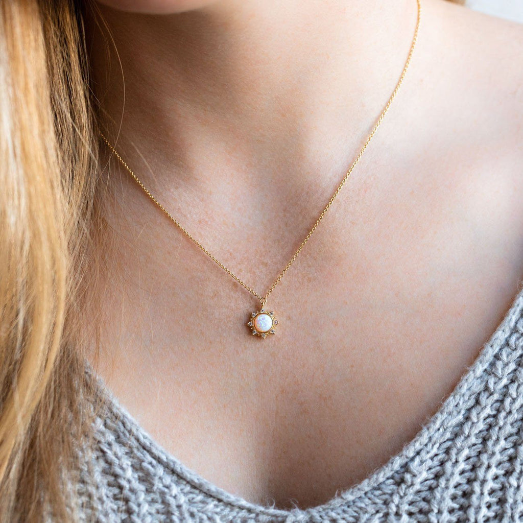 White Opal Sun Necklace
