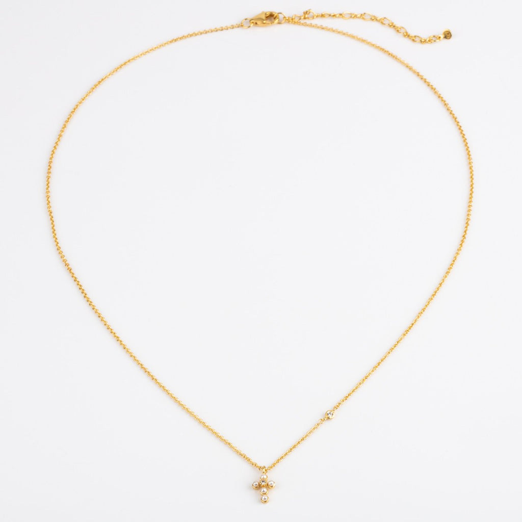 Pearl & CZ Cross Necklace