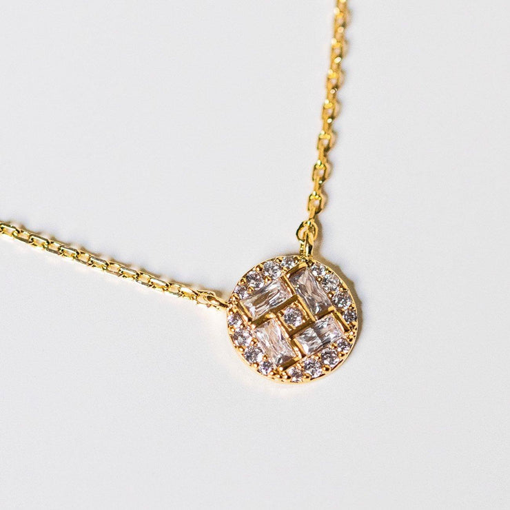 gem encrusted circle pendant necklace cz emerald cut yellow gold jewelry