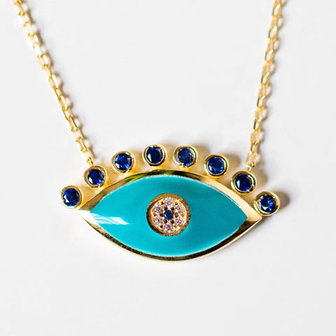 turquoise enamel evil eye pendant necklace yellow gold jewelry