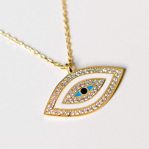 white enamel evil eye protection necklace yellow gold jewelry