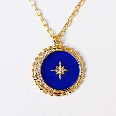 night sky enamel moon and star pendant necklace celestial jewelry