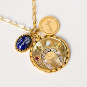 lucky charm necklace horseshoe opal lapis stones yellow gold jewelry