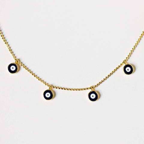 evil eye protection charm necklace unique yellow gold jewelry
