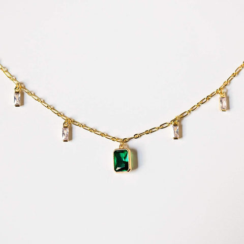 emerald shaker cz necklace unique fun yellow gold jewelry