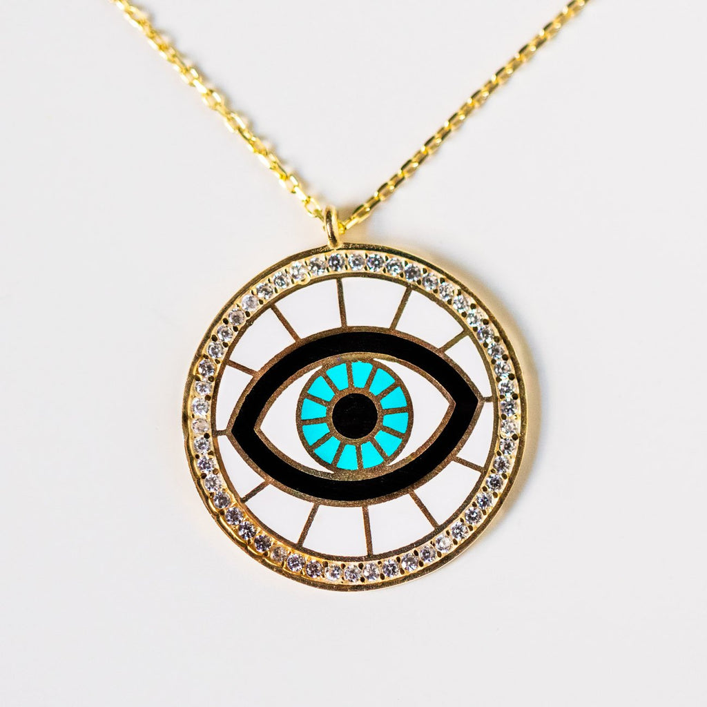 round eye pendant necklace cz unique evil eye jewelry