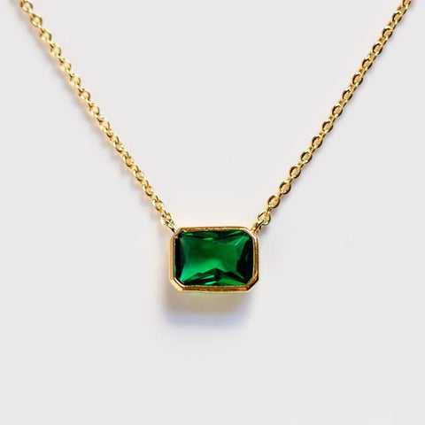 emerald bezel set cz necklace unique yellow gold green jewelry