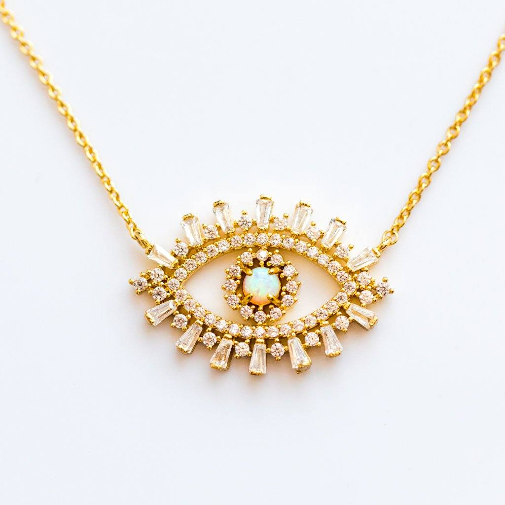 CZ Evil Eye with Opal Center Necklace - necklaces - Tai Jewelry local eclectic