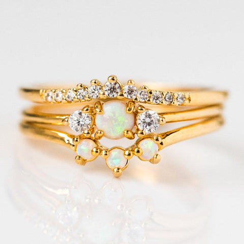 Opal Romance Triple Stacking Ring Set - rings - Tai Jewelry local eclectic