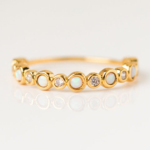 Opal & Diamond Halo Infinity Band Gold Ring