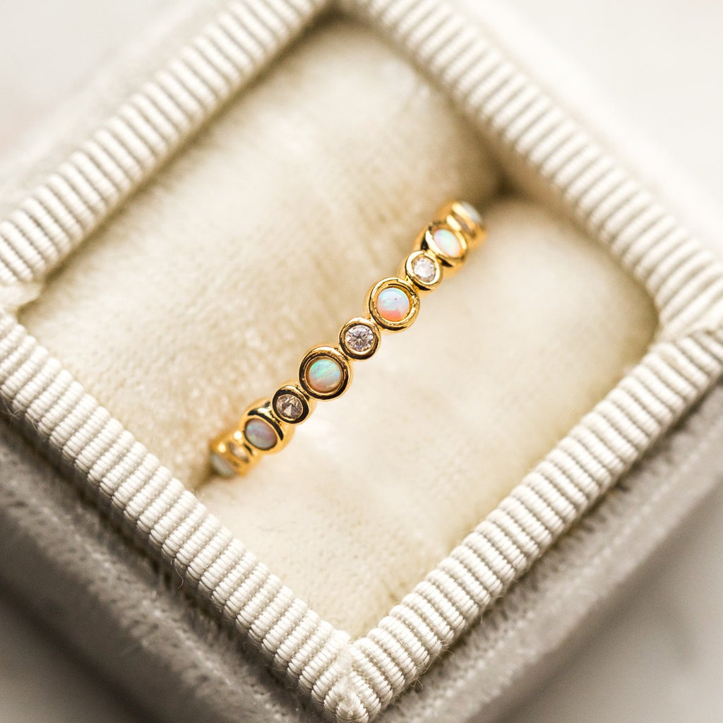 Opal & Diamond Infinity Band Gold Ring