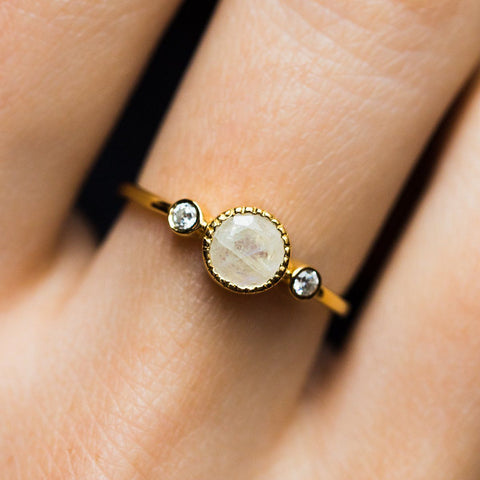 Todos Moonstone Ring - rings - Leah Alexandra local eclectic