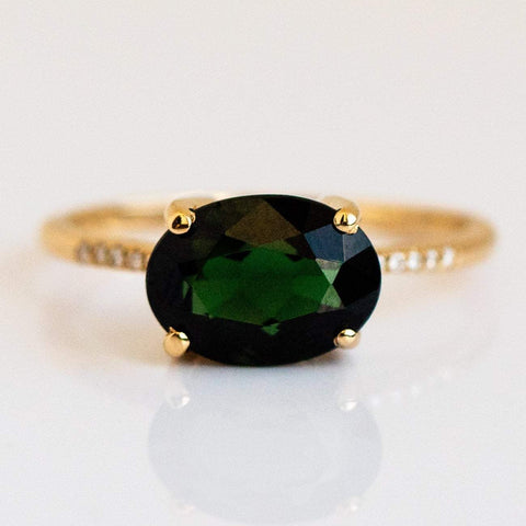 Green Tourmaline fine ring, unique engagement ring