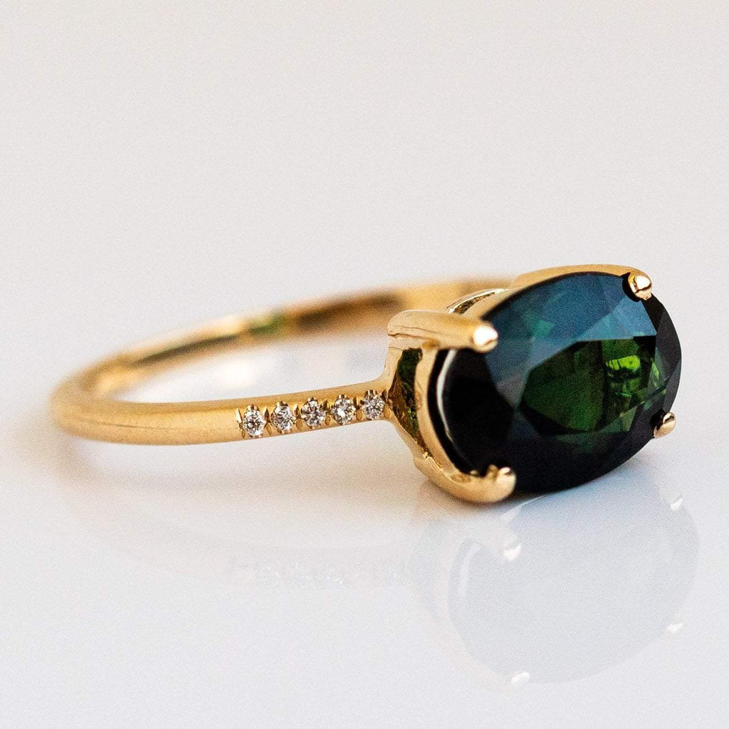 Solid Gold Green Tourmaline Diamond Engagement Ring