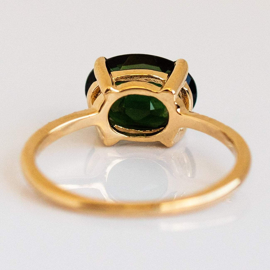 Green Tourmaline White Diamond Solid Gold Statement Ring