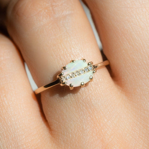 14k Solid Gold Opal Diamond Modern Statement Ring