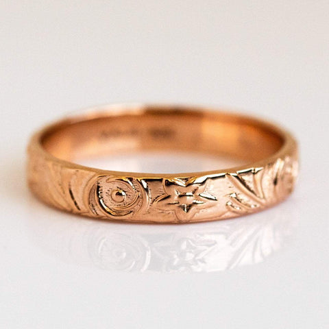 Solid 14k Recycled Rose Gold Floral Eternity Band Ring
