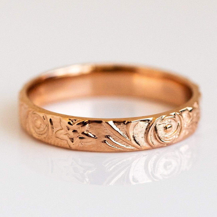 Embossed Solid 14k Rose Gold Eternity Band