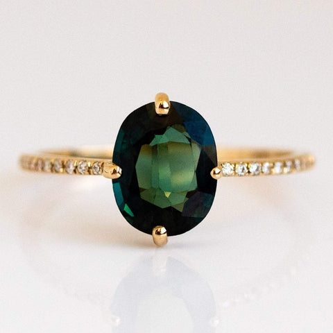 Teal Blue Sapphire Solid Gold Diamond Engagement Ring