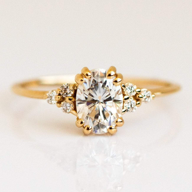 White Moissanite Diamond Oval Solid Gold Engagement Ring
