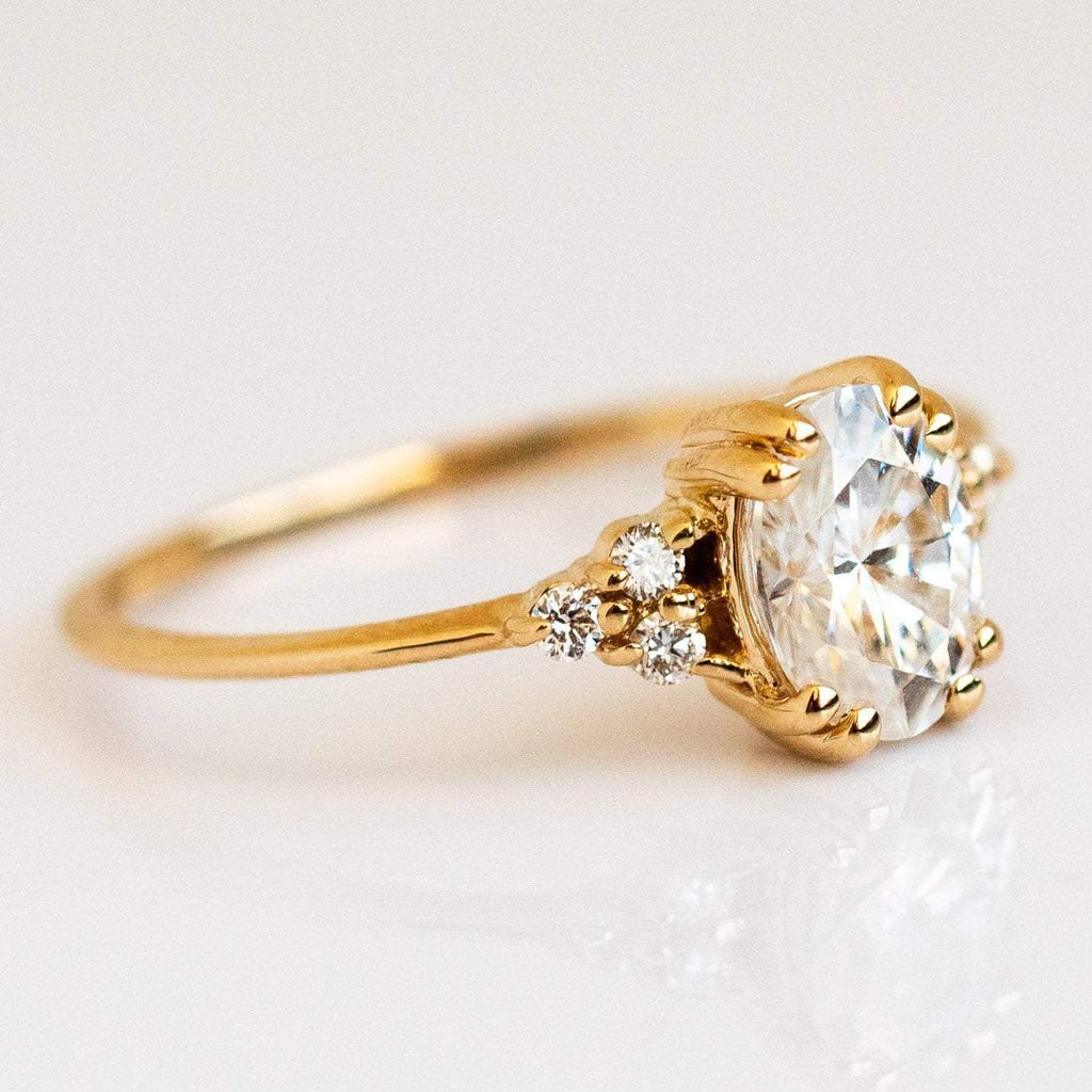 White Diamond Moissanite 14k Solid Recycled Gold Engagement Ring