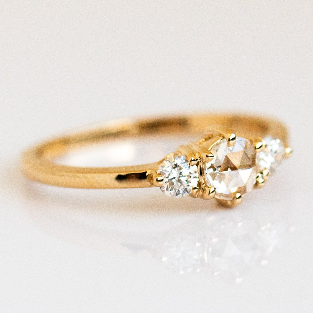 White Diamond Statement Solid Gold Three Stone Ring