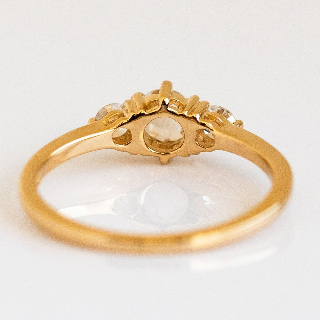 Rose Cut White Diamond Solid Gold Classic Engagement Ring