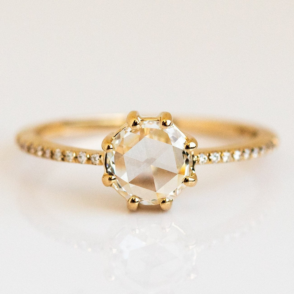 Rose Cut Diamond 14k Solid Gold Statement Ring