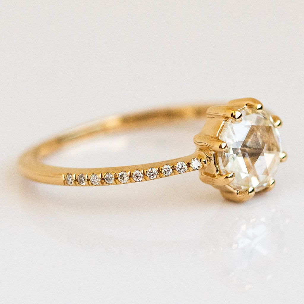 Solid Gold Rosecut Pave Diamond Engagement Ring