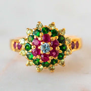 Vintage 18k Green Tourmaline Multi Stone Ring unique yellow solid gold fine jewelry