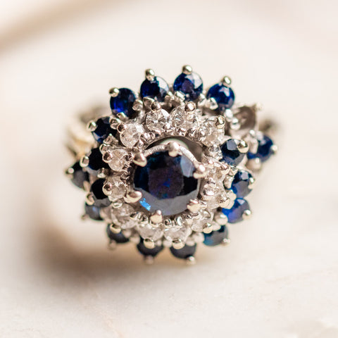 vintage 14k sapphire and diamond flower ring unique statement white gold one of a kind jewelry