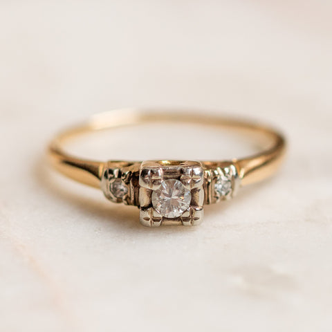 vintage 14k brilliant cut diamond ring in bi color setting unique one of a kind fine jewelry
