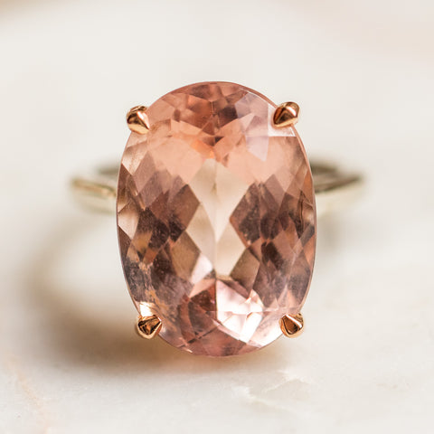 vintage 14k morganite ring unique one of a kind statement cocktail ring