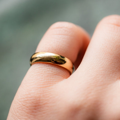 vintage 14k solid yellow gold band minimal fine jewelry