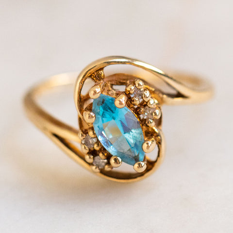 vintage 14k diamond and blue topaz ring one of a kind yellow gold fine jewelry
