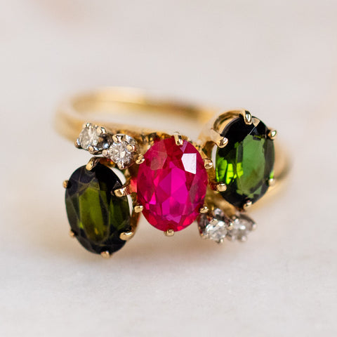 vintage 14k ruby and peridot cocktail ring unique yellow gold fine jewelry
