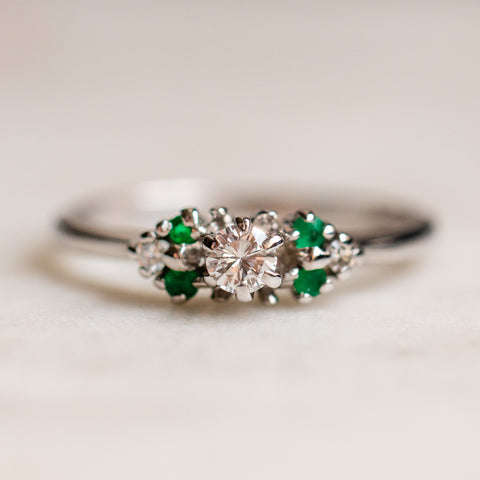 vintage 14k emerald and diamond ring white gold unique fine jewelry