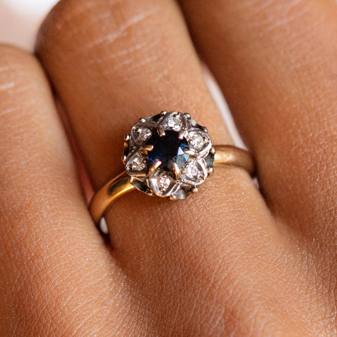 vintage sapphire and diamond floral cluster ring solid yellow gold fine authentic vintage jewelry