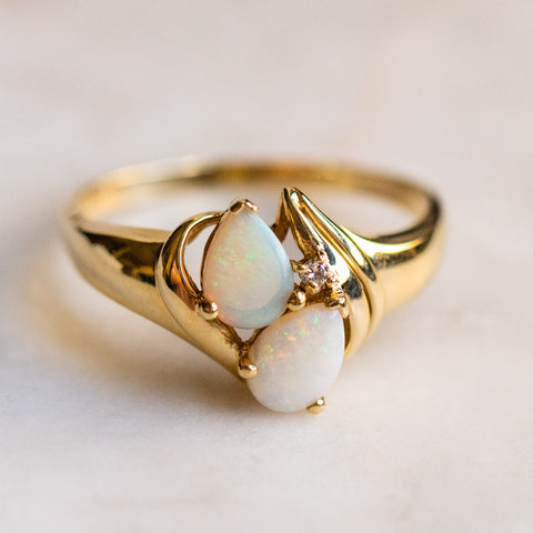vintage 14k opal diamond floral ring unique one of a kind jewelry