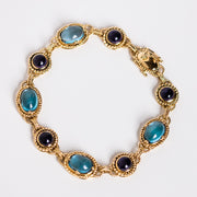 vintage solid 14k gold amethyst and blue topaz bracelet one of a kind jewelry