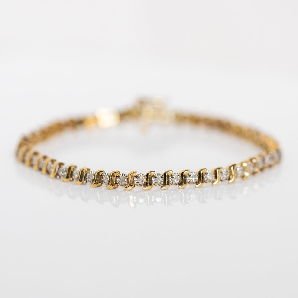 vintage 14k diamond infinity bracelet unique yellow gold one of a kind jewelry