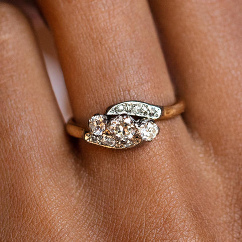 vintage 18k three stone diamond crossover ring authentic vintage solid gold jewelry