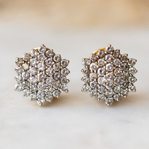 vintage 18k diamond cluster dome earrings unique authentic solid gold vintage jewelry