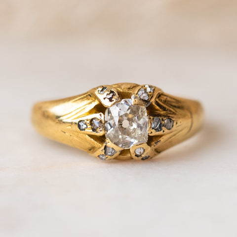 Vintage 18k 19th Century Diamond Set Ring