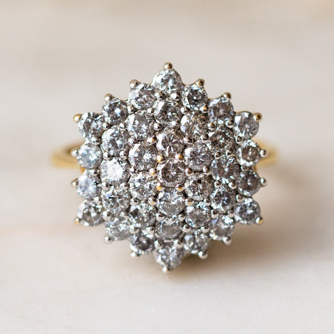 Vintage 18k Diamond Cluster Dome ring statement cocktail ring