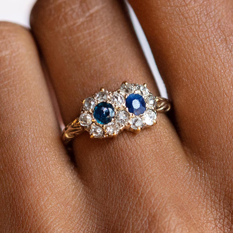 Vintage Late 19th Century Sapphire and Diamond Double Cluster Ring
