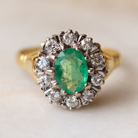 Vintage 18k Emerald and Diamond Cluster Ring solid yellow gold statement ring