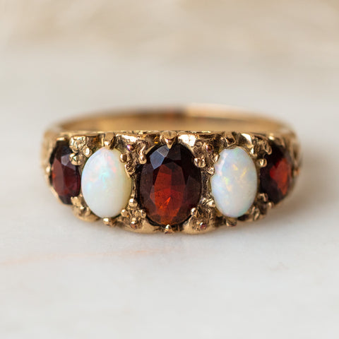 vintage opal and garnet five stone ring solid yellow gold authentic vintage jewelry